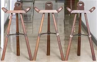 Mid-Century 'Marbella' Style Carved Stools, 3
