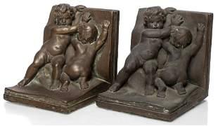 Kathodian Bronze Works Cherub Bookends, Pr