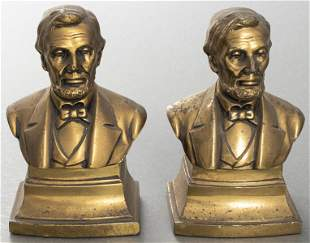 Abraham Lincoln PMC Bronze Bookends, Pair