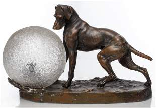After Mene Bronze Animalier Dog Lamp