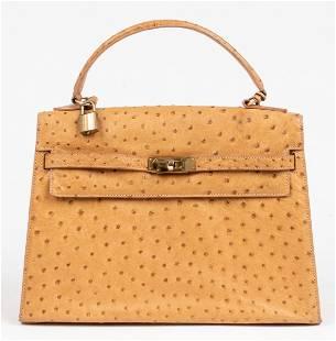 Gold-Tone Ostrich Skin 32cm Handbag