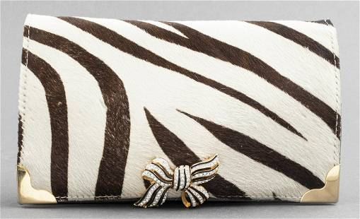 Stenciled Hide And Leather Clutch Handbag