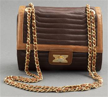 Italian Brown And Tan Leather Handbag