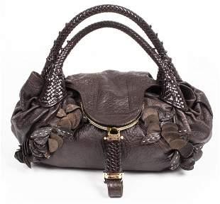 Fendi Brown Leather 'Spy' Hobo Handbag