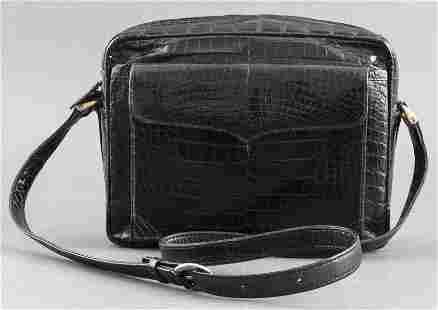 Italian Lana Marks Black Crocodile Handbag