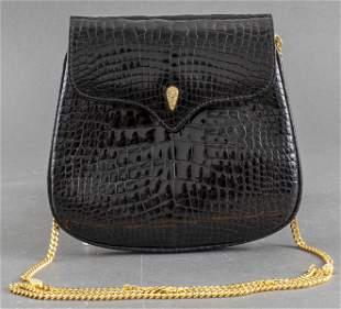 Italian Lana Marks Black Crocodile Evening Handbag