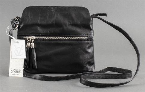 Italian Carla Venturi Black Leather Handbag