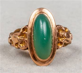 Antique 10K Rose Gold Oval Green Stone Ring
