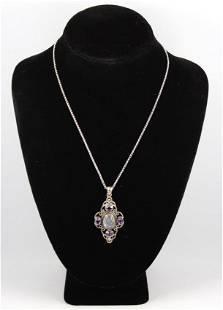 Silver, Moonstone & Amethyst Pendant Necklace