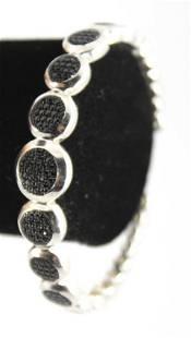 Silver Onyx Pave Bangle Bracelet