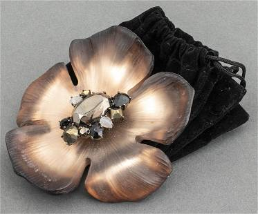 Alexis Bittar Lucite And Crystal Flower Brooch
