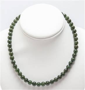 Nephrite Jade Bead Necklace
