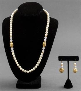 Faux Pearl, Natural Stone, & Filigree Bead Jewelry