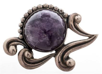 Los Castillo Taxco Silver Amethyst Brooch / Pin