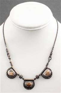 Didae Tribal Silver & 14K Yellow Gold Necklace