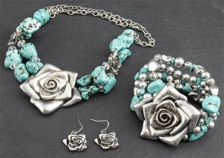 Turquoise & Floral Bead Jewelry Set, 3 Pcs.
