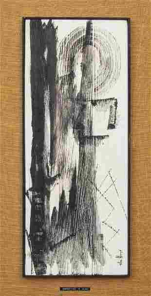 """Patricia de Haan """"Composition in Black"""" Oil"""