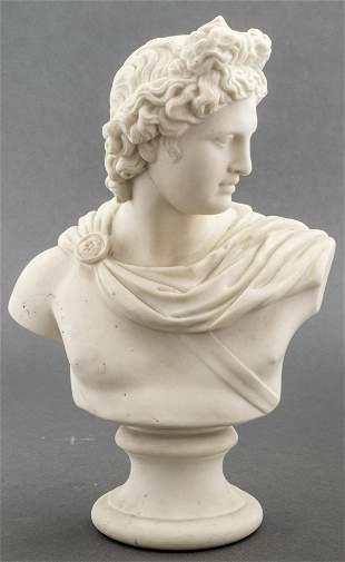 Bisque Porcelain Bust of Apollo