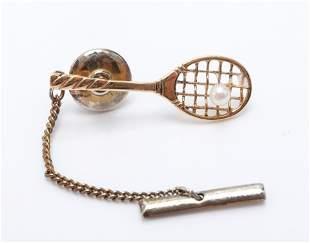 14K Yellow Gold & Pearl Tennis Racket Tie Tack Pin