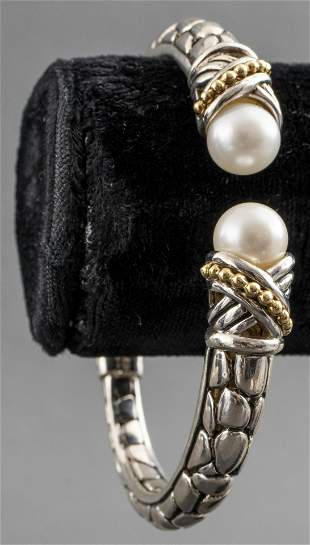 Effy Sterling Silver, 14K Gold, and Pearl Cuff