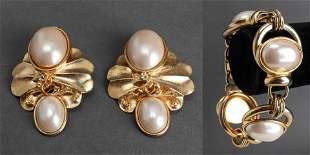 Sorelli Gold-Tone & Faux Pearl Bracelet & Earrings