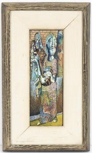 Paul Shimon Judaica Gouache on Card, 1949
