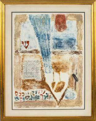 Illegibly Signed Judaica Etching In Colors