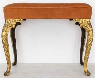 Louis XV Style Gilt Iron Ottoman / Bench