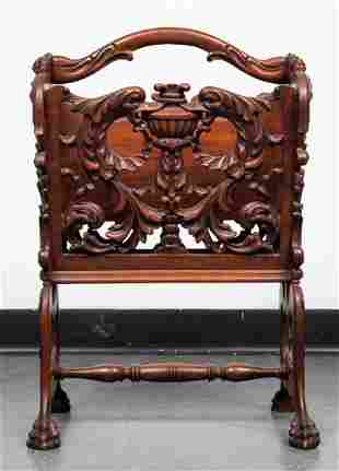 Karpen Style Victorian Carved Canterbury / Rack