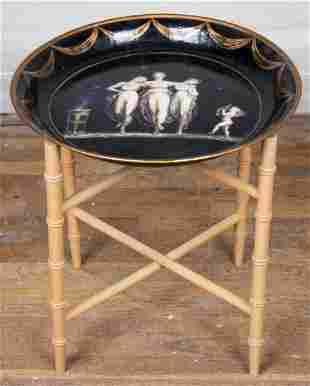 Regency Style Tole & Bamboo Folding Tray Table