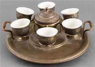 Turkish Mixed Metal & Ceramic Coffee Set