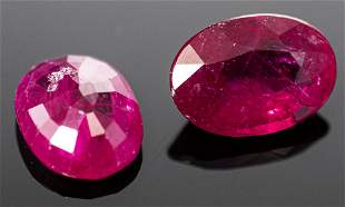 1.10 Cttw. Loose Oval-Cut Ruby, Pair