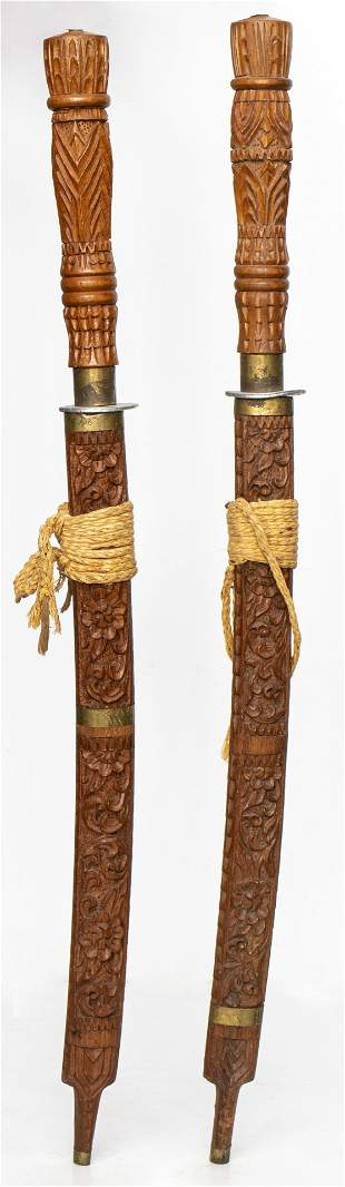 Southeast Asian Swords W Carved Wood Handles, 2