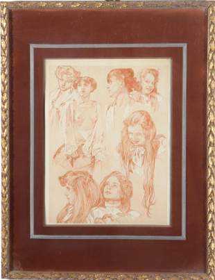 After Alphonse Mucha Portrait Studies Lithograph