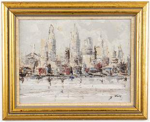 G. Kuhn Signed Cityscape Oil on Canvas Board