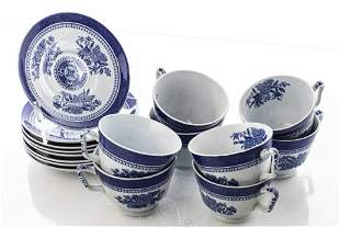 "English Spode ""Fitzhugh"" Tea Cups and Saucers, 16"