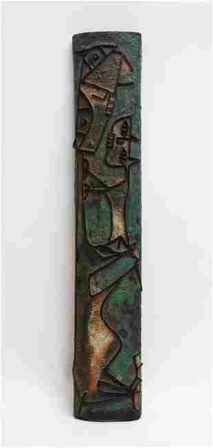 Mid-Century Modern Terracotta Tile with Animals