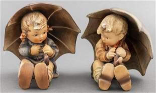 Hummel Porcelain Umbrella Boy & Girl, Pair