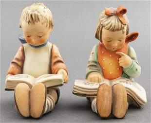 Hummel Porcelain Reading Boy & Girl, Pair