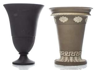 Wedgwood Jasperware & Ravenstone Trumpet Vases, 2