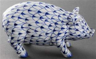 Herend Style Hand Painted Porcelain Pig