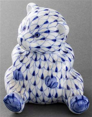 Herend Style Hand Painted Porcelain Bear