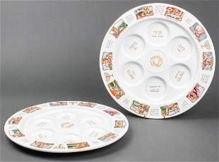Judaica Porcelain Seder Plates, Pair