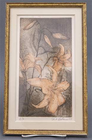 """Illegibly Signed """"Lilies"""" Etching in Colors, 1980"""