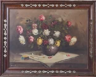"""Continental School """"Still Life of Roses,"""" Oil"""
