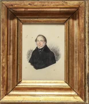 Adolphe Portrait - Man Gouache & Pencil on Paper