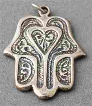 Vintage Judaica Silver Hamsa Pendant