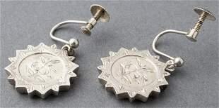 Vintage Danish Silver Engraved Floral Earrings