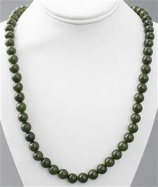 Nephrite Jade Bead Necklace With Vermeil Clasp