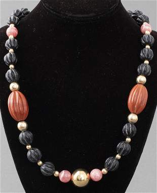 14K Plated Agate, Onyx & Rhodochrosite Necklace